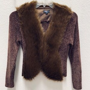 Lisa Int. brown faux fur chenille sweater  | PM